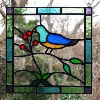 小鳥ステンドグラスミニパネル