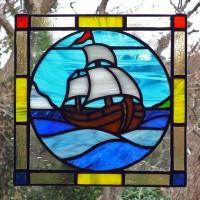 帆船ステンドグラスミニパネル
