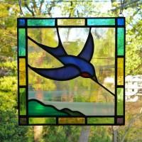 鳥ステンドグラス ミニパネル
